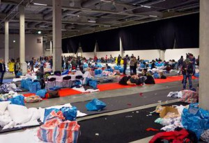 Photo credit: TT, retrieved from Aftonbladet.se. Temporary dormitories for refugees in Sweden.